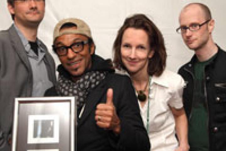Felix Jobst (Universal Music), Manu Katché, Tina Heine (Elbjazz), Matthias Wendl (Artribute Booking) © by Steven Haberland