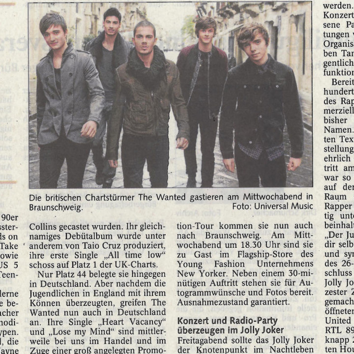 The Wanted Promotour Februar 2011_Presse 7
