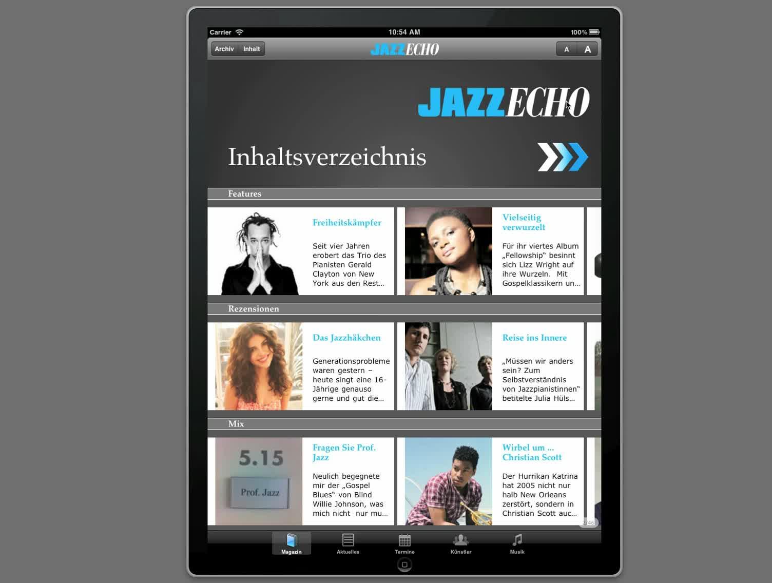 Lizz Wright, Die JazzEcho iPad App