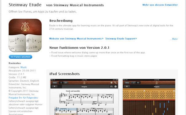 Notenprogramm von Steinway & Sons als iPad-App