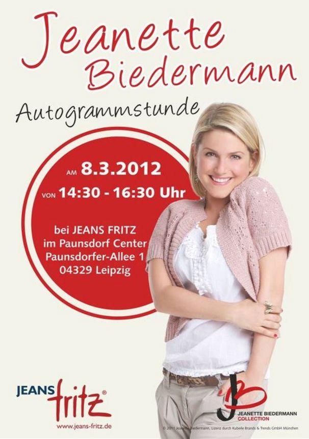 Jeanette Biedermann, Autogrammstunde bei Jeans Fritz