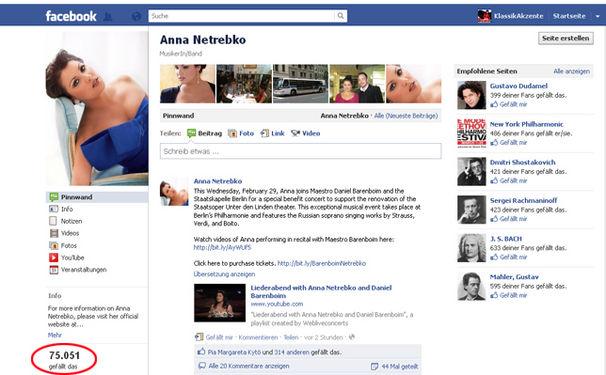 Anna Netrebko, Anna Netrebko freut sich über 75.000 Fans auf Facebook