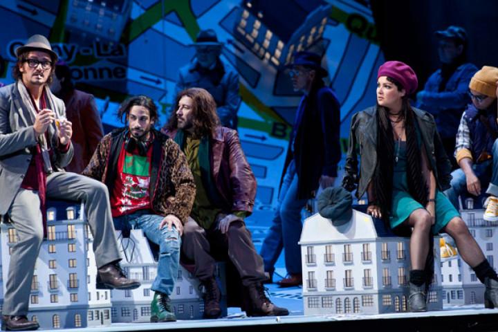 La bohème 2012: Piotr Beczala (Rodolfo), Alessio Arduini (Schaunard), Carlo Colombara (Colline), Anna Netrebko (Mimì)