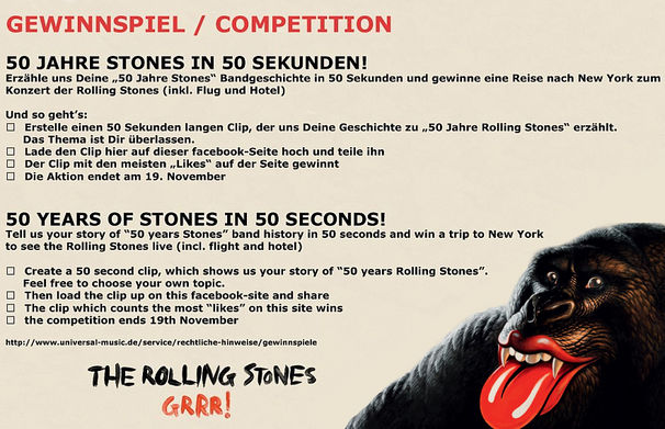The Rolling Stones, Gewinnt auf Facebook eine Reise nach New York zum Konzert der Rolling Stones