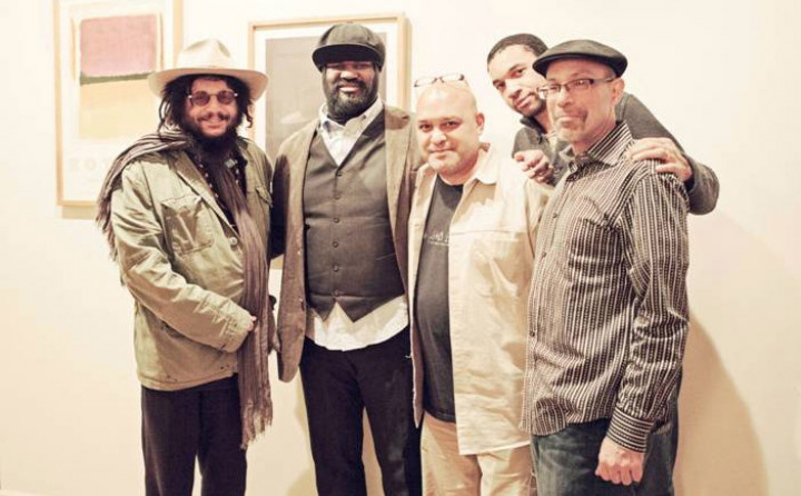 Don Was (President, Blue Note Records), Gregory Porter, Brian Bacchus (Producer), Pascal Bod (Product Manager, Universal Music Classics & Jazz), Kamau Kenyatta (Associate Producer) (von links nach rechts)