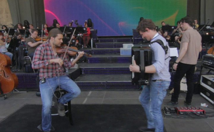 Backstage in Berlin: Martynas mit David Garrett