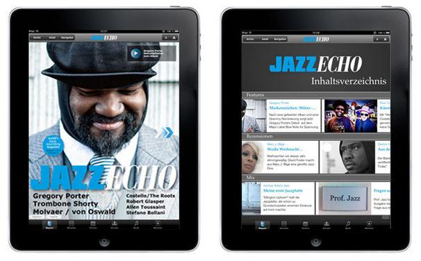 Various Artists, JazzEcho kleidet sich modern: die neue iPad App-Ausgabe mit Gregory Porter Interview