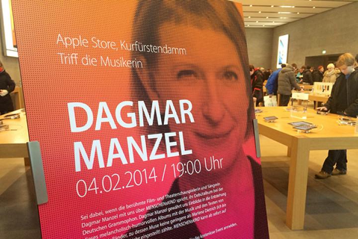 Erleben Sie Dagmar Manzel am 04.02 um 19 Uhr im Apple Store, Kurfüstendamm