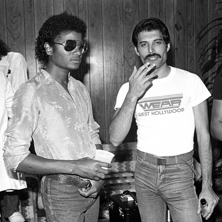Freddie Mercury and Michael Jackson — Photography by Neal Preston Copyright Queen Productions Ltd