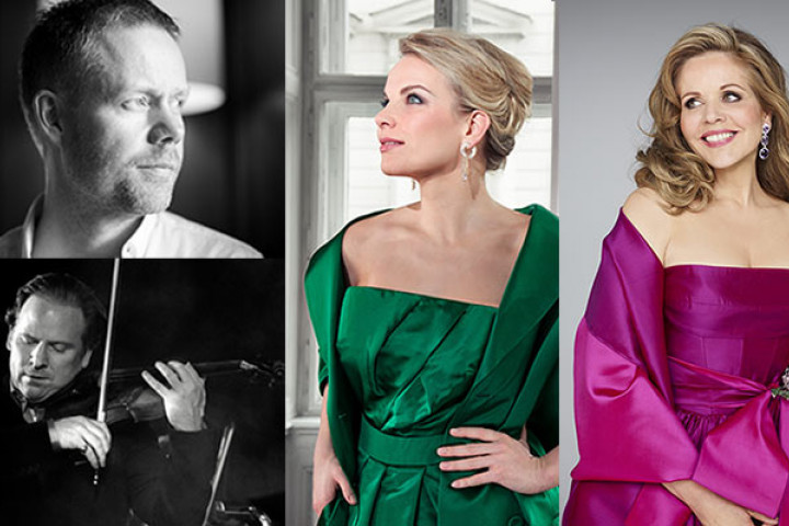 Von oben links: Max Richter, Daniel Hope, Elina Garanča, Renée Fleming