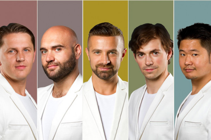 Von Links: Yuriy Mynenko, Xavier Sabata, Max Emanuel Cencic, Valer Sabadus, Vince Yi