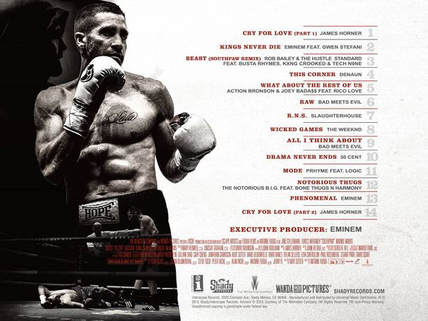 Southpaw Soundtrack, Southpaw Tracklist