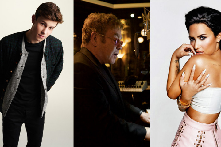 Collage Elton John, Demi Lovato, Shawn Mendes