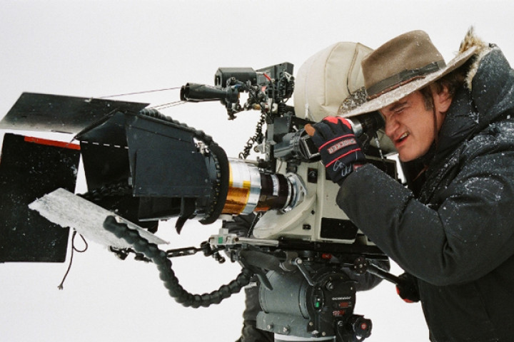 "Regisseur Quentin Tarantino am Set von ""The Hateful Eight"""
