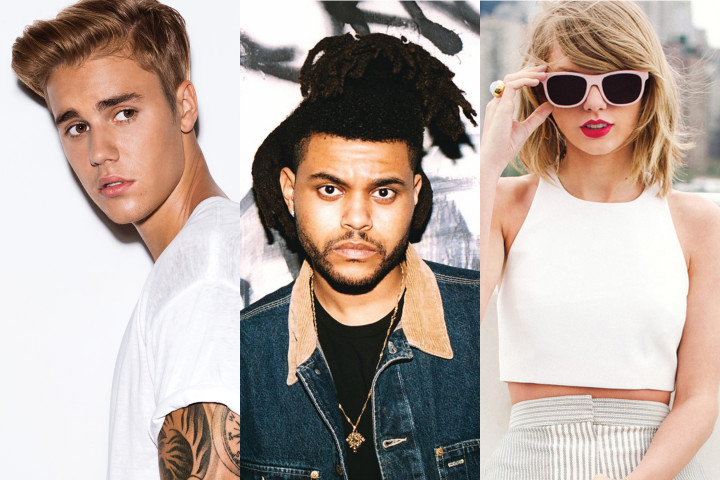 Justin Bieber The Weeknd Taylor Swift