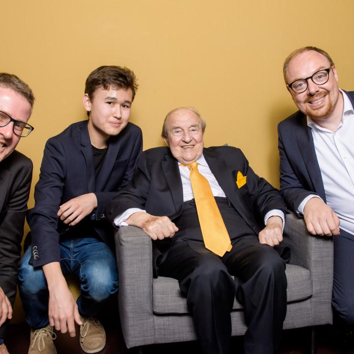 Dickon Stainer, Daniel Lozakovich, Menahem Pressler und Clemens Trautmann