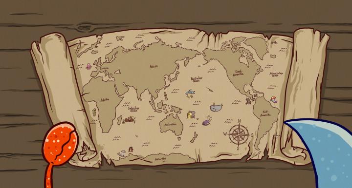Hainer der kleine Hai auf Meeresmission: Seekarte / Landkarte