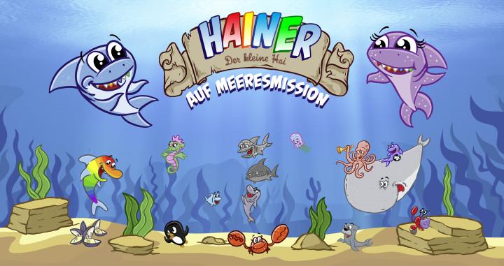 Postkarte Hainer der kleine Hai Banner