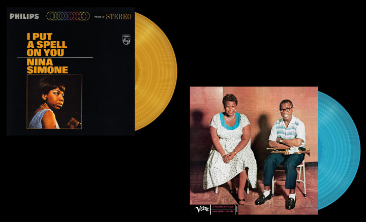 "JazzEcho-Plattenteller: Nina Simone ""I Put A Spell On You"" (exkl. in goldenem Vinyl bei Mediamarkt und Saturn) / Ella Fitzgerald & Louis Armstrong ""Ella & Louis"" (exkl. in blauem Vinyl bei Mediamarkt und Saturn)"