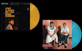 JazzEcho-Plattenteller, Farbe für den Turntable - Nina, Ella und Louis in Gold und Blau