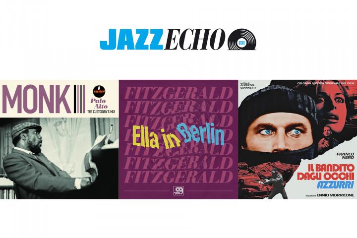 Record Store Day LPs im JazzEcho-Store: Thelonious Monk - Palo Alto (The Custodian's Mix) / Ella Fitzgerald - Ella In Berlin (Original Grooves) / Ennio Morricone - Il bandito dagli occhi azzurri (Ltd. Transparent Blue Vinyl)