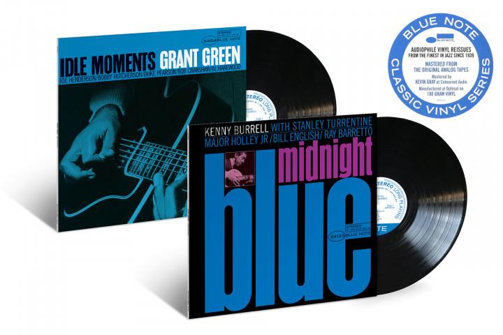 "JazzEcho-Plattenteller - Blue Note Classic Vinyl Serie: Grant Green ""Idle Moments"" / Kenny Burrell ""Midnight Blue"""