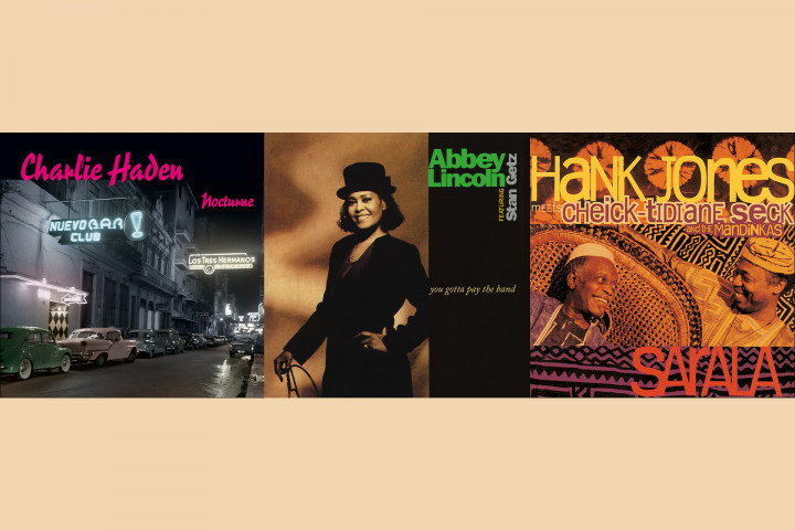 "JazzEcho-Plattenteller: Charlie Haden ""Nocturne"" / Abbey Lincoln feat. Stan Getz ""You Gotta Pay The Band"" / Hank Jones ""Sarala"""