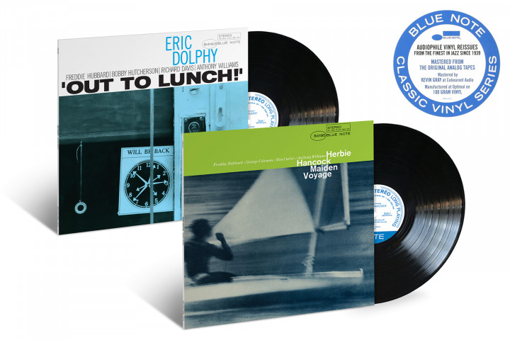 """JazzEcho-Plattenteller - Blue Note Classic Vinyl Serie: Eric Dolphy """"Out To Lunch!"""" / Herbie Hancock """"Maiden Voyage"""""""