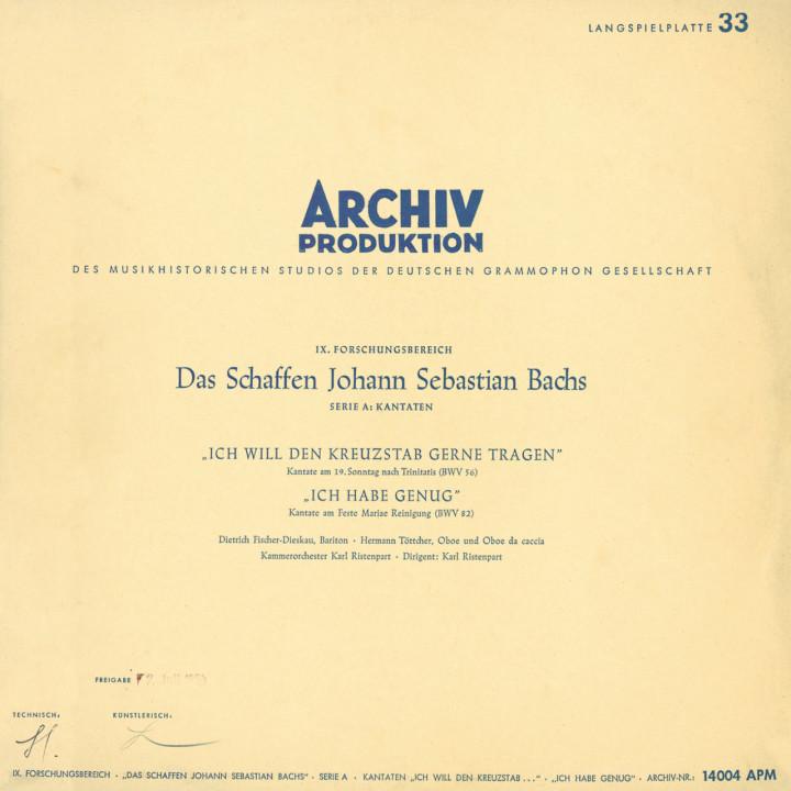BACH Cantatas / Fischer-Dieskau Cover